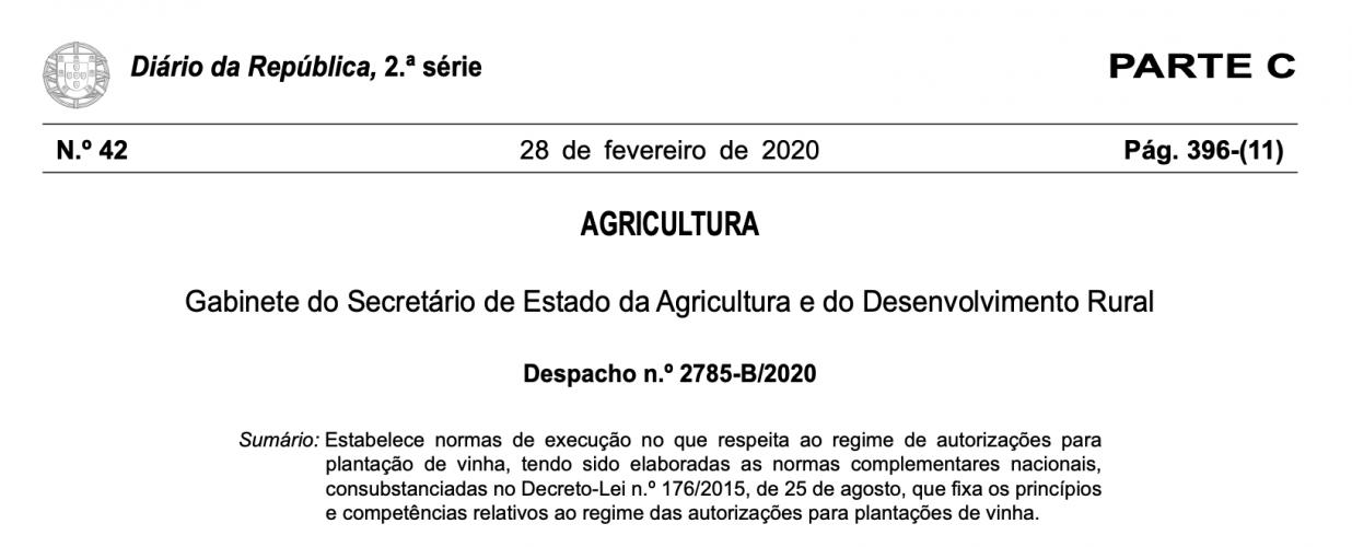 Candidaturas às novas autorizações de plantação 2020