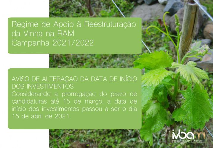 Regime de Apoio à Reestruturação da Vinha  - Aviso de alteração da data de início dos Investimentos - 15 Abril